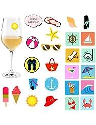 Avery Barn 25pc Mixed Beach Sun Design Fun Party Supply Silicone Wine Glass Markers - Set 2: Summer Lovin