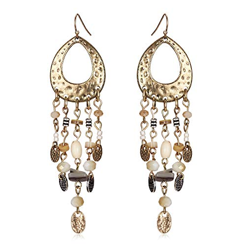 Gmai Antique Ethnic Brocade Mexico Gypsy Engraved Lotus Hook Dangle Earrings for Women and Girls (Tassel stones)