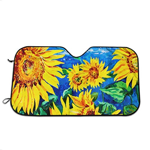 AsnowA Sunflower Oil Painting Car Windshield Sun Shade Universal Fit Car Sunshade-Keep Your Vehicle Cool. UV Sun and Heat Reflector Minivans (51