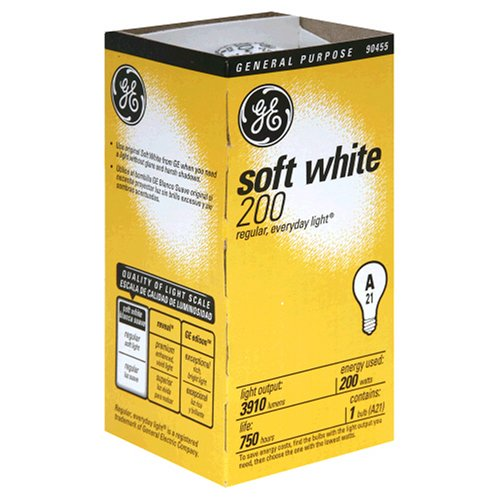 GE 11585-12 A21 Incandescent Soft White Light Bulb, 200-Watt