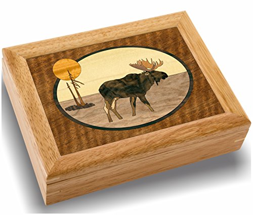 Wood Art Moose Box - Handmade USA - Unmatched Quality - Unique, No Two are the Same - Original Work of Wood Art. A Moose Gift, Ring, Trinket or Wood Jewelry Box (#2108 The Moose 6x8x2)