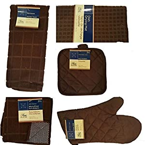 Home Collection Brown Kitchen Linens Bundle of 8 Items - Kitchen Towel, Pot Holders, Microfiber Scrubbers, Dish Drying Mat & Oven Mitts