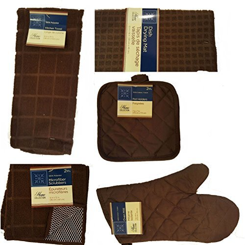 Home Collection Brown Kitchen Linens Bundle of 8 Items - Kitchen Towel, Pot Holders, Microfiber Scrubbers, Dish Drying Mat & Oven Mitts ()