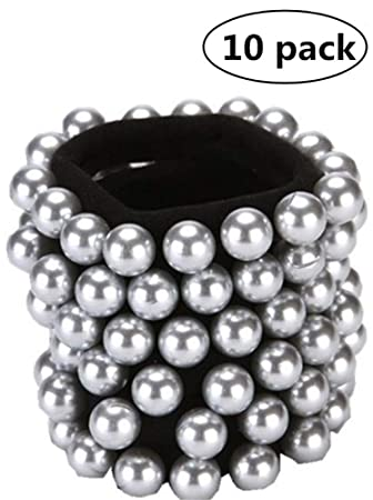 10 Pcs Pearl Hair Ties Hair Braid Loops with Artificial Pearl No Crease  Coil Hair Ties 365df2712c0