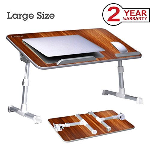 Avantree [Large Size] Adjustable Laptop Bed Table, Portable Standing Desk, Foldable Sofa Breakfast Tray, Notebook Stand Reading Holder for Couch Floor Kids - American cherry - Best Laptop Lap Desk