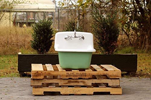 Vintage Style Deep Utility Sink Antique Inspired High Back Cast Iron Porcelain Farm Sink Package Arsenic Green (Cast Iron Porcelain Sink)