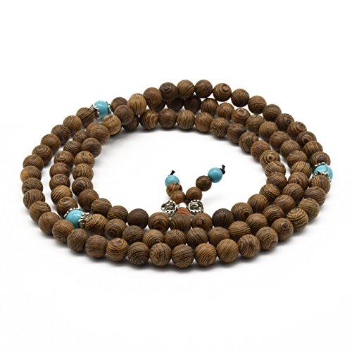Zen Dear Unisex Natural Wenge Mala Prayer Beads Necklace Bracelet Meditation Buddhist Rosary Mala Beads