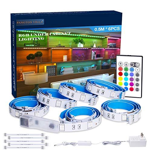 RGB Under Cabinet Lighting, 6 PCS x 19.6In LED Strip Lights, 5050 LEDs Color Changing Lights with Remote and Power Supply, Home Decor Mood Lighting kit DIY Kitchen, Cupboard, Desk, TV, Shelf (Best Led Strip Lights For Under Cabinet)