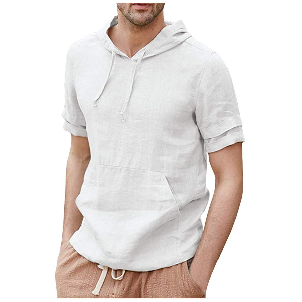 Jhualeek Men's Hipster Hip Hop T-Shirt Casual Lightweight Pullover Hoodie Short Shirts Sweatshirt with Pocket Khaki by Jhualeek