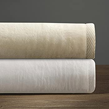 DownTown Company Cotton and Acrylic Soft Blanket, Cashmere Softness, Imported From Portugal (Queen, White)