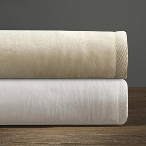 DownTown Company Cotton and Acrylic Soft Blanket, Cashmere Softness, Imported From Portugal (King, White)