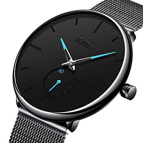 Mens Black Watches Men Stainless Steel Waterproof Mesh Watch Simple Designer Analogue Quartz Stylish Watch Men's Luxury Business Classic Dress Gents Watches for Men