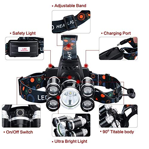 NEWEST And BEST Version Waterproof Headlamp Waterproof 12000 Lumen 5 Led Headlamp XML T6+4Q5 Head Lamp Powerful Led Headlight,Waterproof Camping, Hiking, Hunting,Fishing (Silver) by UVER (Image #5)