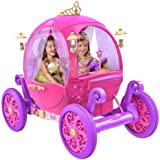 "24V Iconic Disney Princess Carriage, Features a Detachable ""Wear and Share"" Tiara, Heart-Shaped Steering Wheel and Luxurious Curtains"