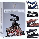Shoe Slots Organizer 10 Piece Set (Black) - 2019 Premium Closet Space Saver for High Low Heels, Sneakers, Boots and Sandals - 3-step Adjustable Plastic Stacker Slotz - Gift for Men, Women, and Kids