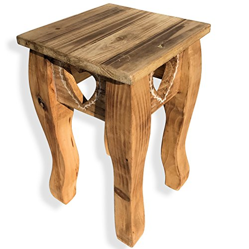 Whole House Worlds The Farmhouse Country Style Table, Side, Accent, or Occasional, Cut Out Hearts, Handcrafted of Sustainable Wood, Natural Color, Rustic White Accents, 13 Inches High, By by Whole House Worlds (Image #1)