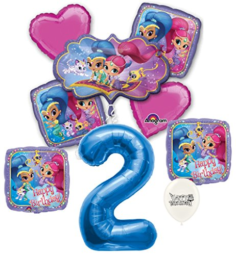 Blue Number 2nd Birthday Shimmer and Shine Party Decorations Balloon Bouquet Bundle