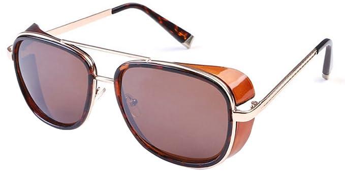 BOZEVON Cru Lunettes de lunette miroir Lunettes de soleil Steampunk Unisexe pour femmes et hommes Marron-Marron 9kOMMAW5rt