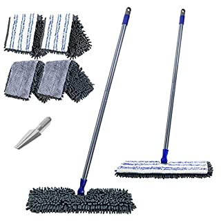"Microfiber Flip Flat Dust Mop 16.8"" Reversible Floor Mop with 4 Washable Mop Pads Refills and 1 Cleaning Comb for Hardwood Laminate Ceramic Marble Tile Floors Cleaning"