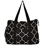19'' Large Roomy Tote Beach Bag w/Attached Coin Purse Quartrefoil Prints