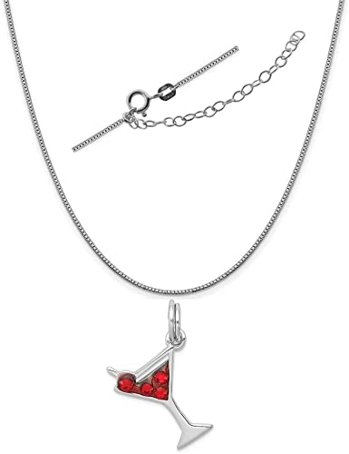 Sterling Silver Anti-Tarnish Treated Cocktail Glass with Red CZ Necklace