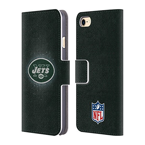 Official NFL LED 2017/18 New York Jets Logo Leather Book Wallet Case Cover For Apple iPhone 7 / iPhone 8 (Nfl Logo Leather)