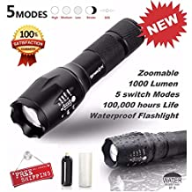 SkyWolfeye Tactical LED Flashlight , Bigban G700 X800 Zoom Super Bright Military Grade (Black)
