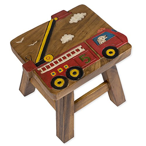 Red Fire Truck Design Hand Carved Acacia Hardwood Decorative Short Stool by Sea Island Imports