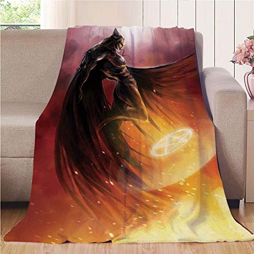 Blanket Comfort Warmth Soft Cozy Air Conditioning Fleece Blanket Perfect for Couch Sofa Or Bed,Fantasy World,Superhero in His Original Costume Flying Up Magic Flame Save the World Theme,Yellow Red,5 ()