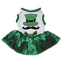 Petitebella Pet Supply Mustache Hat White T-Shirt Clover Green Dog Dress (Large)