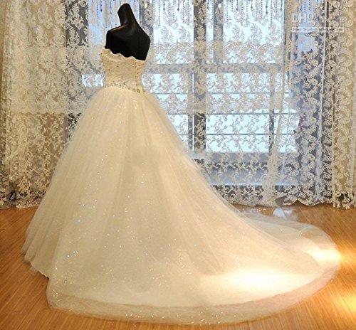 Schatz CoCogirls Kapelle Bridal Wulstig Tüll Hochzeitskleider Netz Pailletten kleid Kristall Weiß Hochzeitskleid Zug Trägerlos Brautkleider Tgdprqwxg
