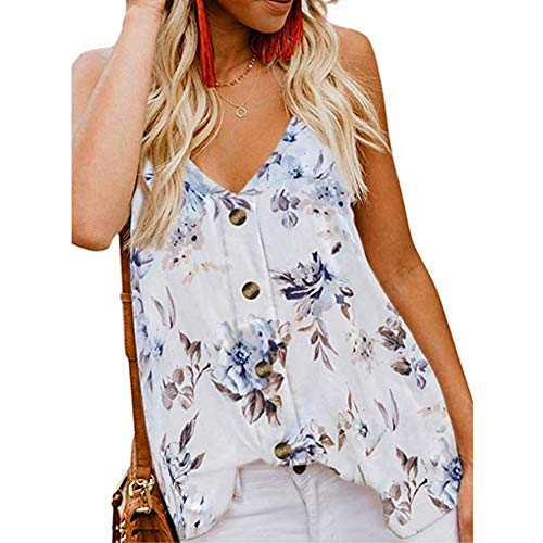 Women Tops Sleeveless Tank Top Floral Print Camisole for Legging Chiffon T-Shirt,White Flower,XL