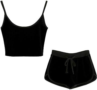 SSYUNO Women 2 Piece Outfits Halter Sleeveless Crop Cami Top with Shorts