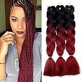 Jumbo Braids Colorful Synthetic Kanekalon Hair Extensions for DIY Crochet Box Braiding Ombre Black-Burgundy 3Pcs 100g/Pcs 24Inches