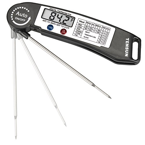 Tensun Instant Read Meat Thermometer, Super Fast Accurate Cooking Thermometer Electronic Kitchen Thermometer with Digital LCD, Fordable Long Probe for Food, Candy, Milk, Tea, BBQ Grill Smokers