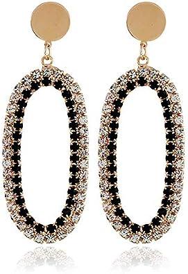 Pendientes de moda calle disparar diamantes ovalados aretes de piedras preciosas huecas joyas de oreja larga
