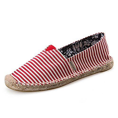 Red Canvas Espadrille - Alexis Leroy Women's Summer Stripe Canvas Flat Espadrilles Red 38 M EU / 7-7.5 B(M) US