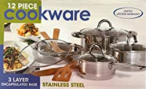 Stainless Steel Cookware Set 12 piece - Dutch Oven, Fry Pan, 2 Saucepans, 4 Bamboo Tools