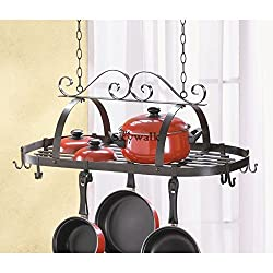 MIJORA-Pot and Pan Hanging Rack Hook Ceiling Mount Oval Wrought Iron Holder Cookware!