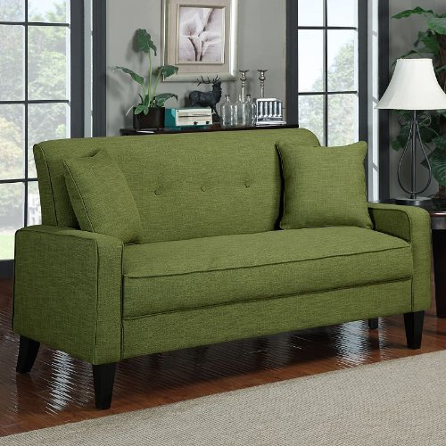 Transitional Linen Sofa (Apple Green) (37″H x 71.65″W x 32.68″D)