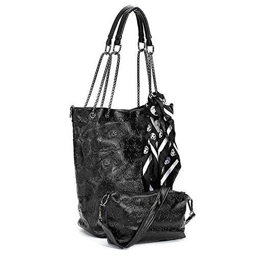 Bag Tote Skull Bag x Shoulder Handbag Fashion Crossbody Leather 2 R Women TOOGOO Purse qzwC84x