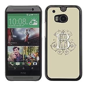 Be Good Phone Accessory // Dura Cáscara cubierta Protectora Caso Carcasa Funda de Protección para HTC One M8 // b letter initial beige calligraphy white