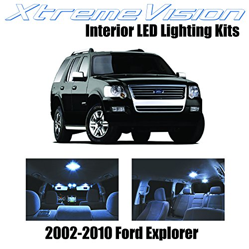 XtremeVision Interior LED for Ford Explorer 2002-2010 (11 Pieces) Cool White Interior LED Kit + Installation Tool ()