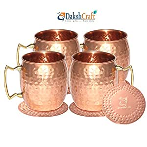 Dakshcraft Moscow Mule Copper Mugs Copper Drinking Cups and Mugs(Capacity - 500 ml / 16.90 oz), Set of 4