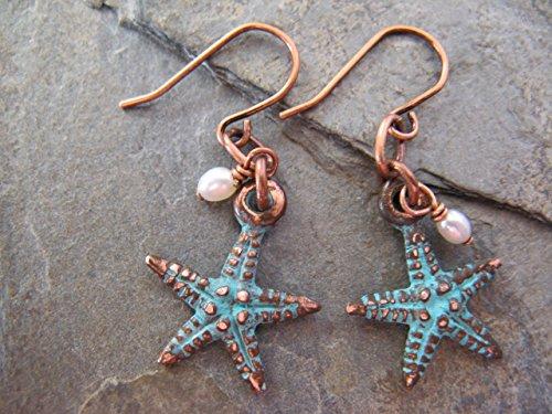 Aqua Patina Rustic Starfish Cultured Pearl Copper Earrings Boho (Pearl Starfish Earrings)