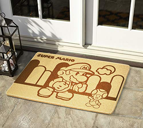 Super Mario Bros Large Rubber Outdoor Indoor Entryway Door Mat New Home Christmas Anniversary Easter Gifts for Married Couples Video Game Lover Boyfriend Husband Neighbor Home and Office Decor -