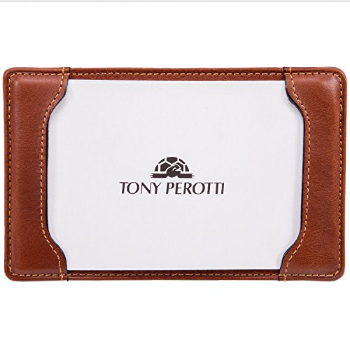 CUSTOM PERSONALIZED INITIALS ENGRAVING Tony Perotti Unisex Italian Cow Leather 5 x 3