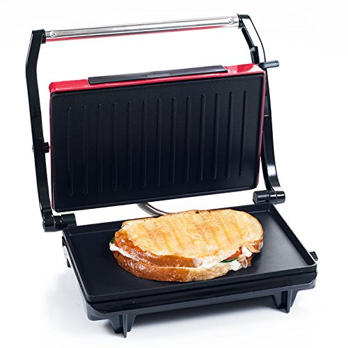 Trademark Global Panini Press Indoor Grill and Gourmet Sandwich Maker With Nonstick Plates (Red) by Chef Buddy