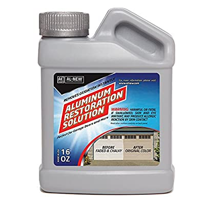 AL-NEW - Aluminum Restoration Solution + Instantly Cleans + Restores + Seals + Polish Garage Doors, Window Frames, Patio Furniture and Stainless Steel