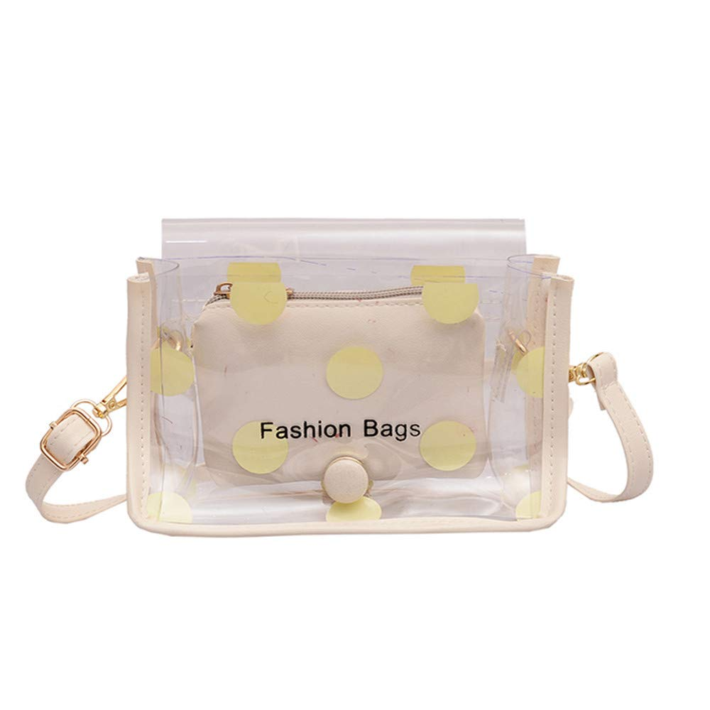Dot Vintage Clear Evening Bag, Adagod Women & Girls Personality Clutch Crossbody Purse (Small, Yellow)